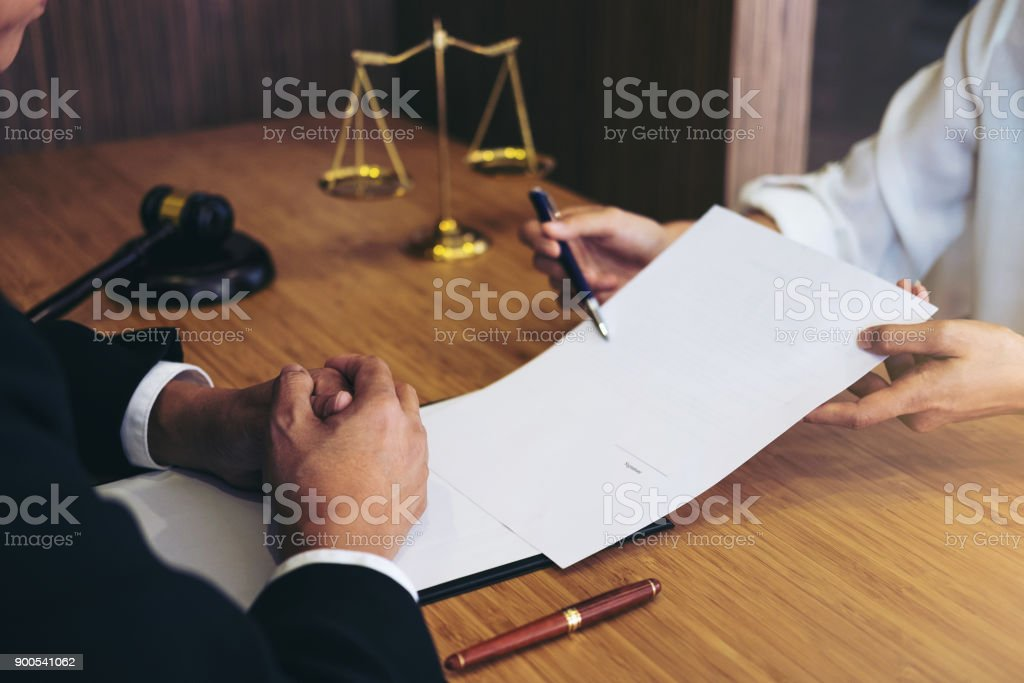 Customer service good cooperation, Consultation between a male lawyer and business people customer, tax and the company of real estate concept stock photo
