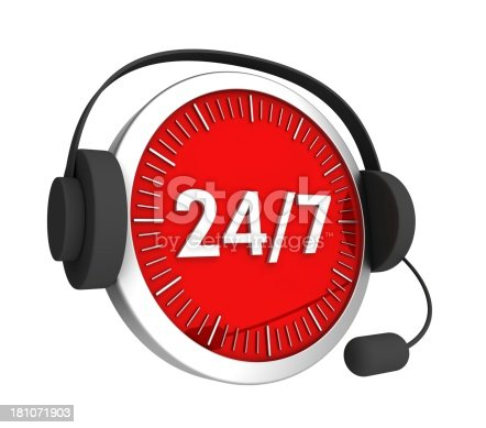 istock Customer service headset on a red-faced clock with 24/7 181071903
