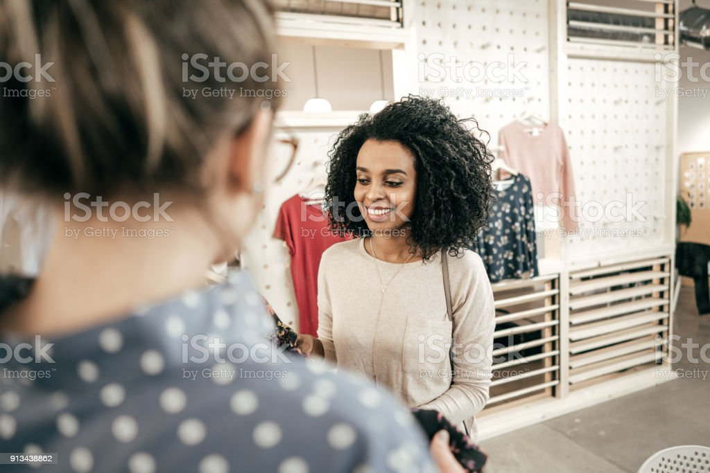 Customer service in retail industry stock photo