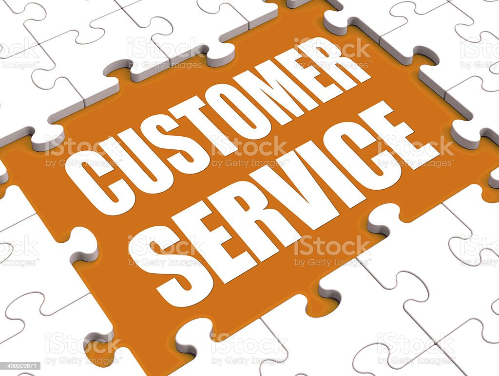 Customer Service Puzzle Shows Consumer Support Or Helpdesk stock photo