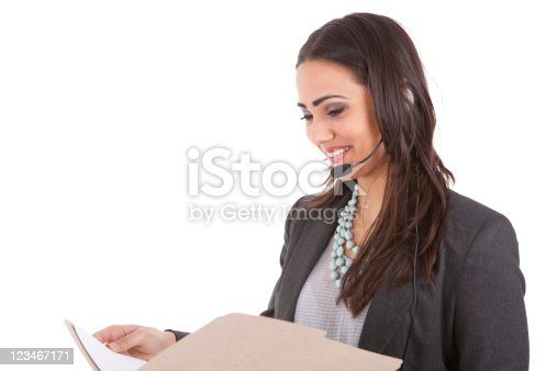 istock Customer service rep reading a file 123467171
