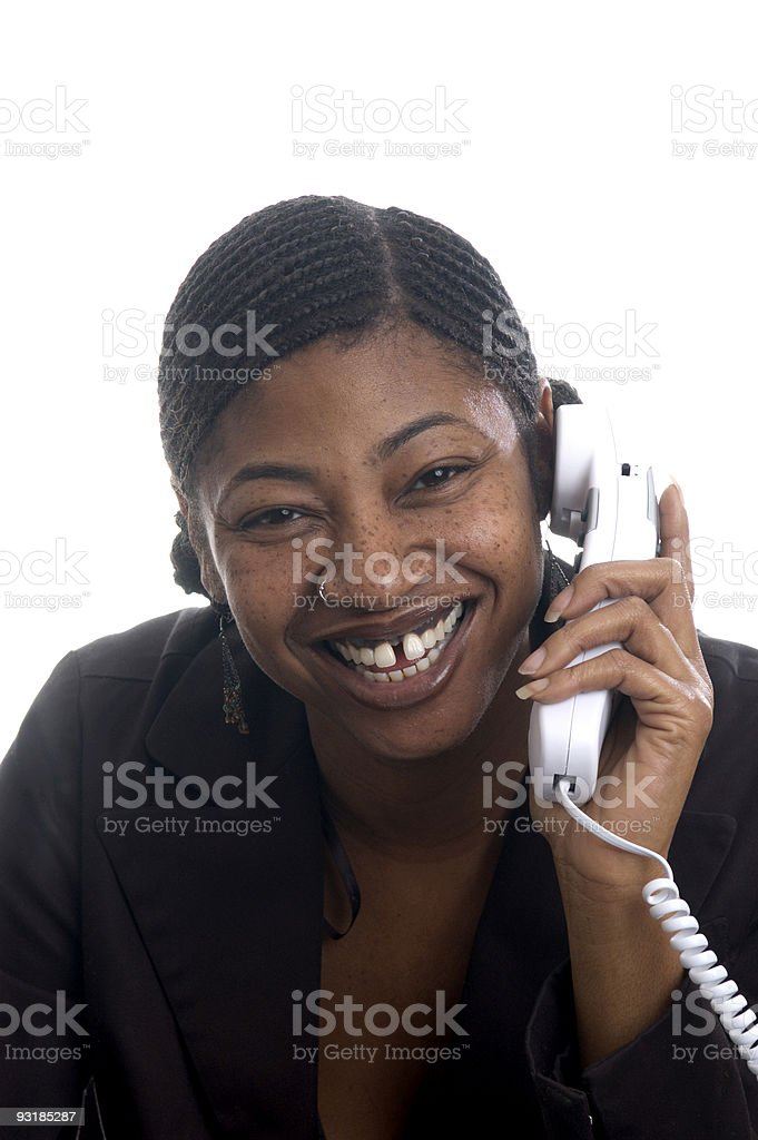 customer service represenatative beautiful smiling on phone stock photo