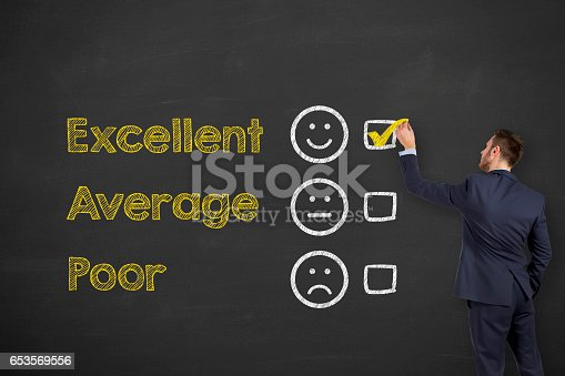 istock Customer Service Representative on Chalkboard Background 653569556