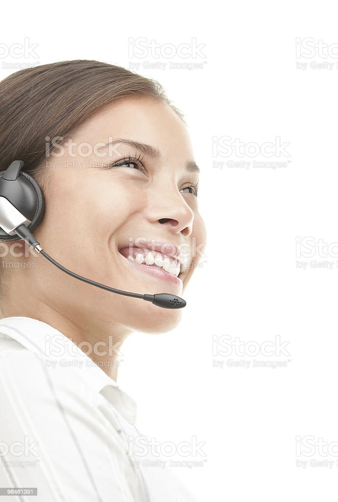 Customer Service Representative woman with headset royalty-free stock photo