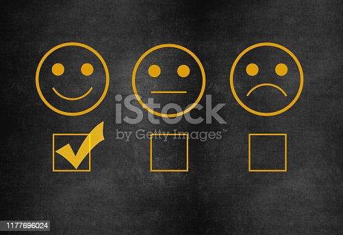 istock Customer service satisfaction survey on blackboard 1177696024