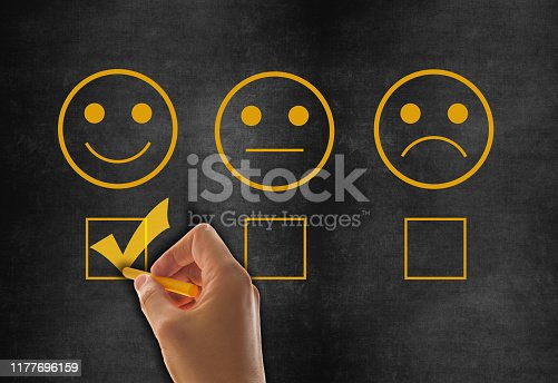 178090546 istock photo Customer service satisfaction survey on blackboard 1177696159