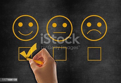 istock Customer service satisfaction survey on blackboard 1177696159