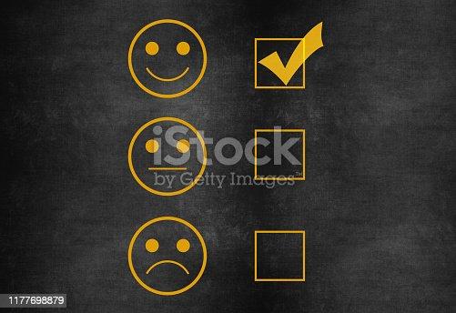 istock Customer service satisfaction survey on blackboard 1177698879