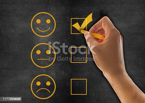 istock Customer service satisfaction survey on blackboard 1177699688