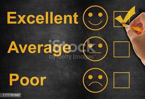 istock Customer service satisfaction survey on blackboard 1177701537