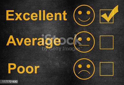 istock Customer service satisfaction survey on blackboard 1177701630