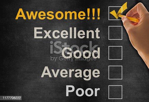 istock Customer service satisfaction survey on blackboard 1177705222
