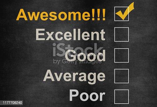istock Customer service satisfaction survey on blackboard 1177705240