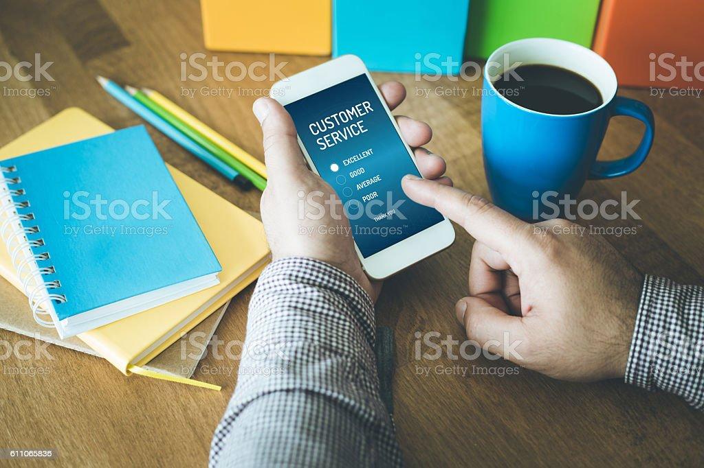 Customer service survey form app on a screen stock photo