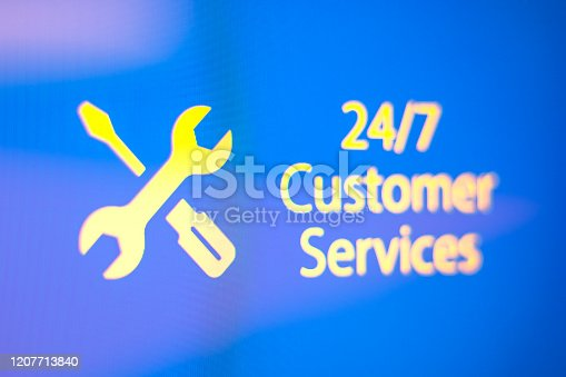 24/7 customer service Text And Sign On The Close-up Monitor Screen. Horizontal composition with copy space.