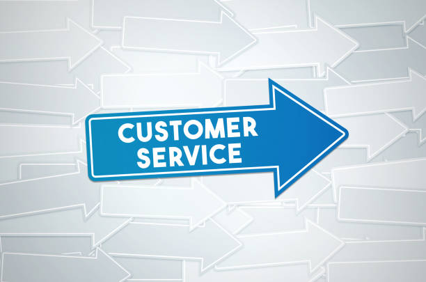 customer service text concept on blue directional sign - shifts call centre foto e immagini stock