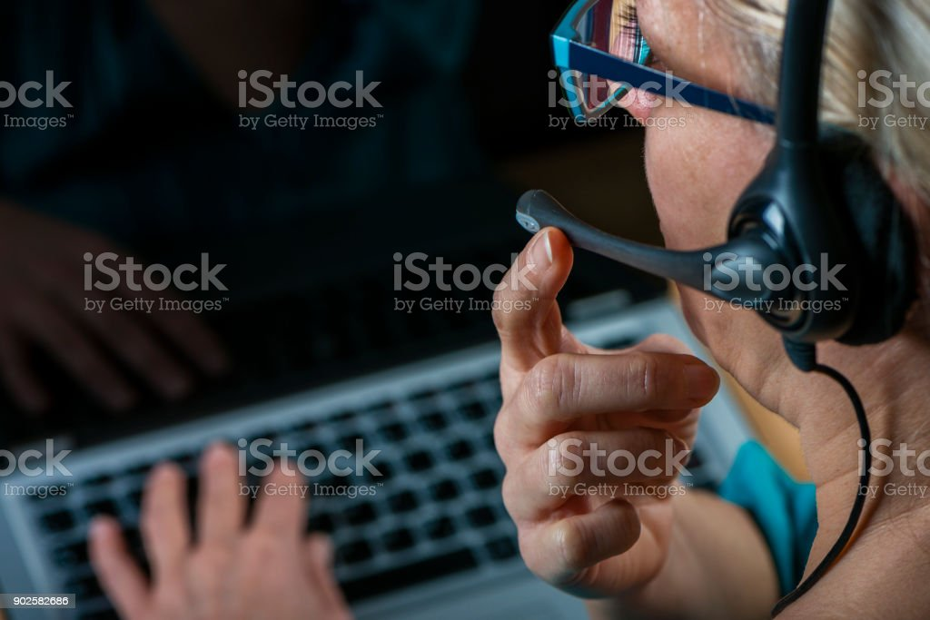 customer service woman at work stock photo