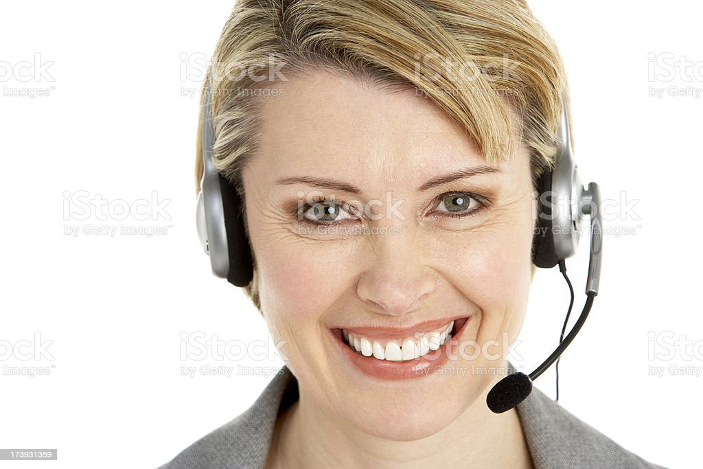 Customer Services Agent Wearing Headset royalty-free stock photo