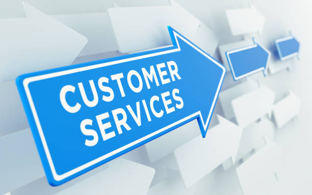 customer services text on blue directional sign - shifts call centre foto e immagini stock