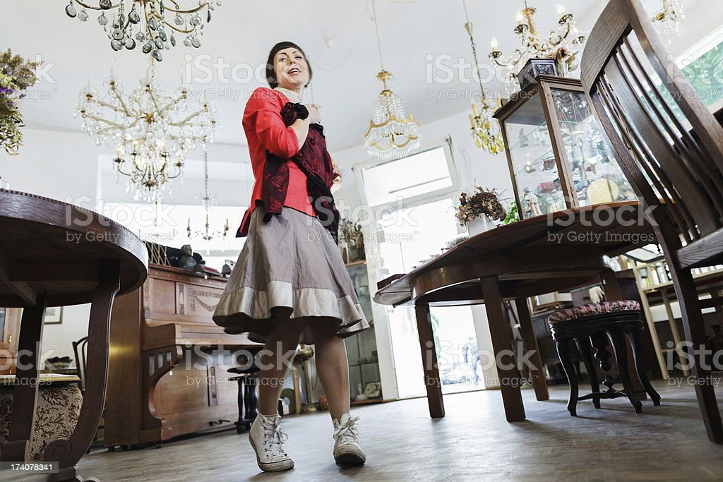Customer Shopping in an Antique Shop stock photo