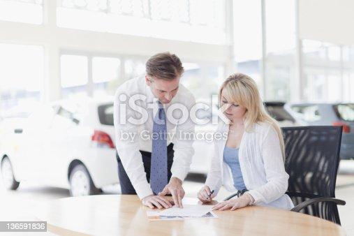 136591825istockphoto Customer signing at car dealership 136591836
