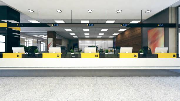顧客は大きなオープンスペースオフィス3dレンダリングをスタンド - 窓口 ストックフォトと画像