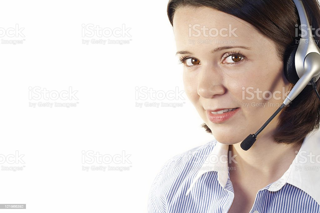 Customer support girl with headset. royalty-free stock photo