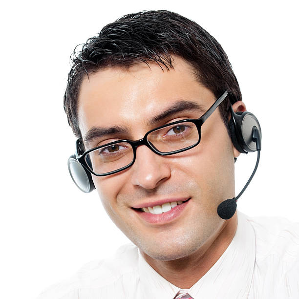 Customer support phone operator in headset, isolated stock photo