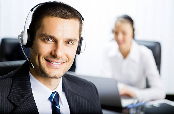 Customer support phone operator stock photo