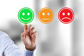istock Customer survey feedback, a customer rating with happy icon 1170749170