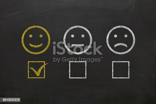 istock Customer survey feedback blackboard drawing 854900326