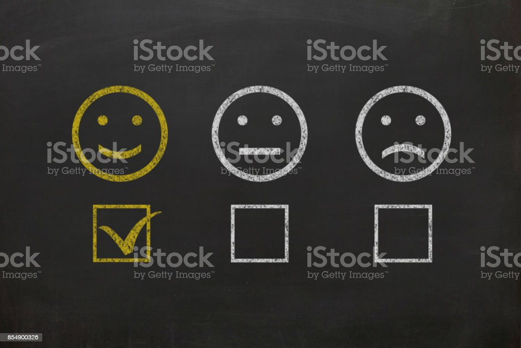 Customer survey feedback blackboard drawing stock photo