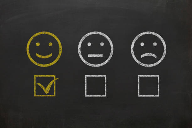Customer survey feedback blackboard drawing stock photo