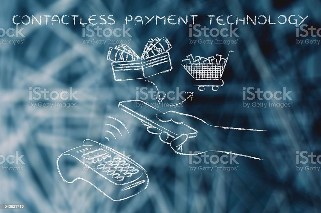 customer using contactless payment technology via smartphone stock photo