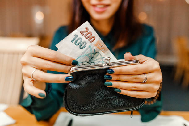 customer woman in the restaurant after dinner gets money out of her wallet to pay the bill customer woman in the restaurant after dinner gets money out of her wallet to pay the bill czech culture stock pictures, royalty-free photos & images