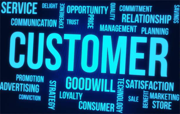 Kunden-Wortwolke auf dem digitalen Bildschirm – Foto
