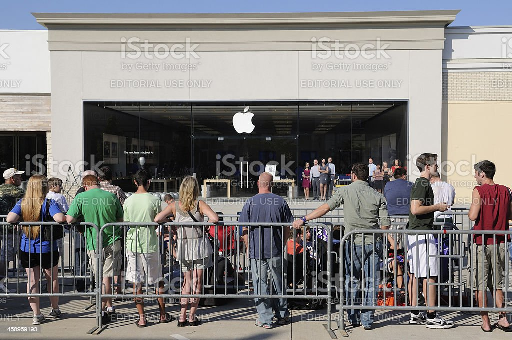 Customers at Apple Store Grand Opening royalty-free stock photo