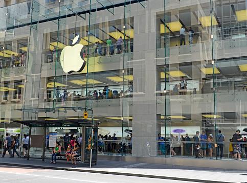 Customers in Apple Store, Sydney Australia