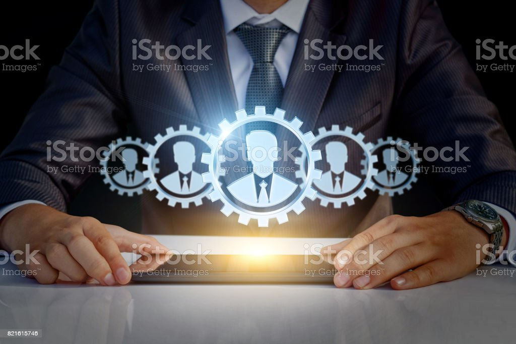 Customers in the form of a gear mechanism . stock photo