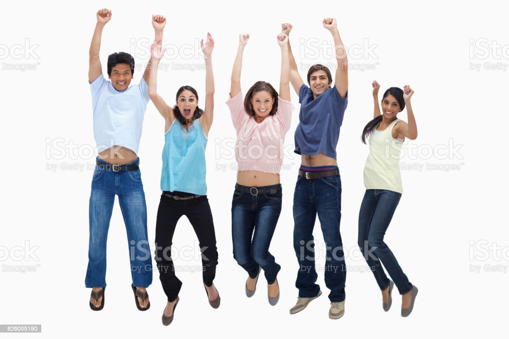 Customers jumping for joy stock photo