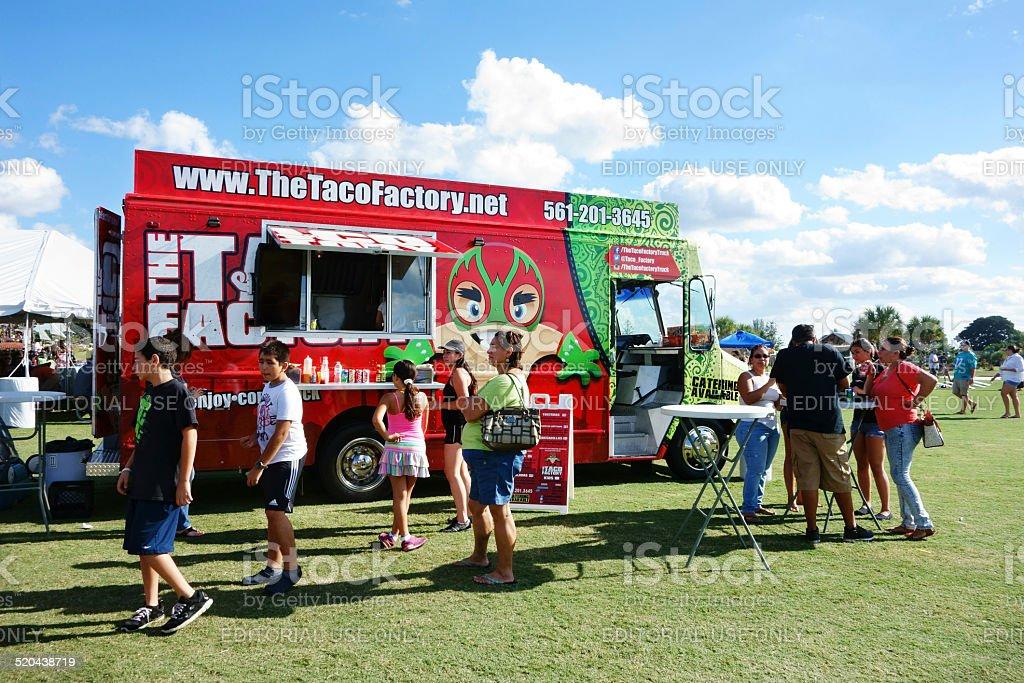 Customers near Tacos Factory Food Truck stock photo