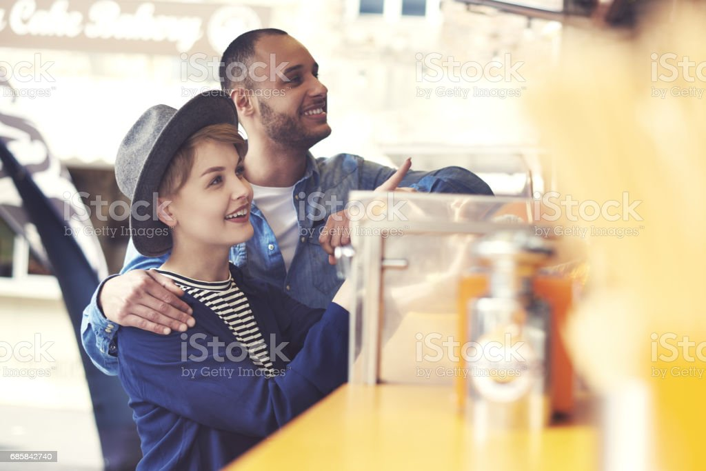 Customers outside food truck on the street stock photo