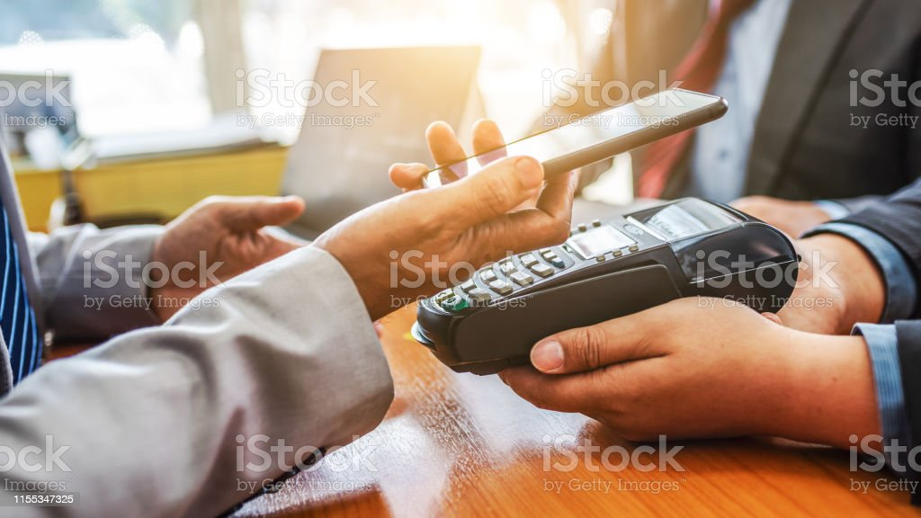 Customers Paying Bill Financial Quick Cash By Nfc Payment
