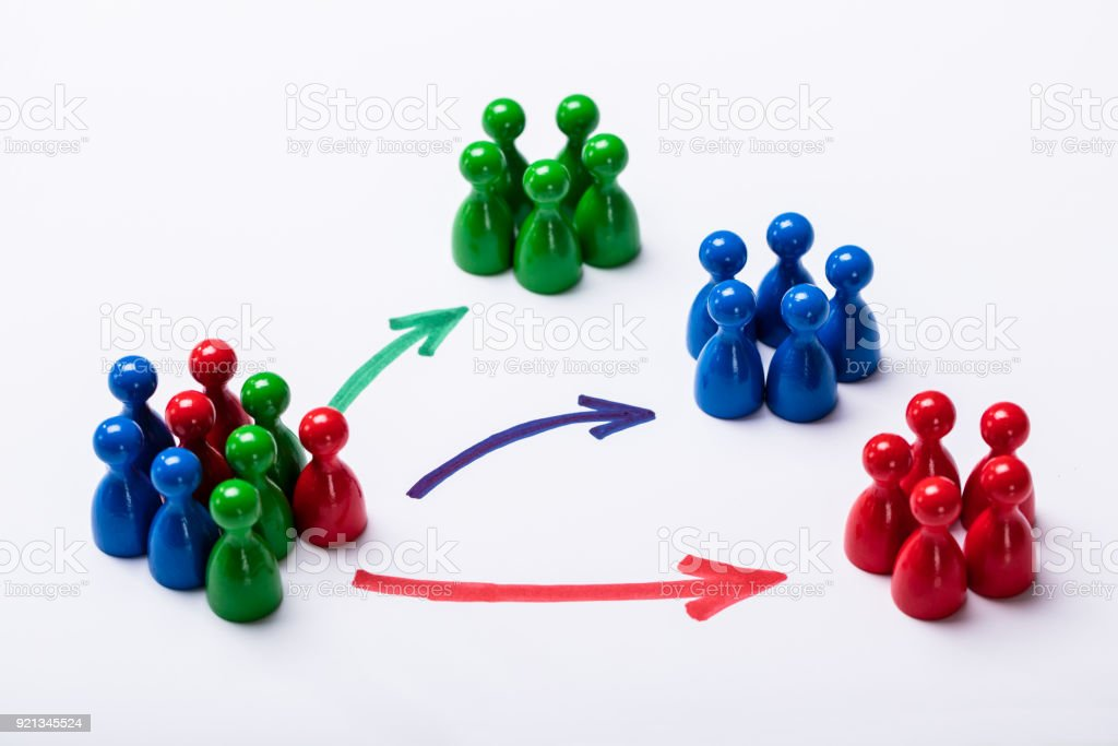 Customers Segmented Into Groups stock photo