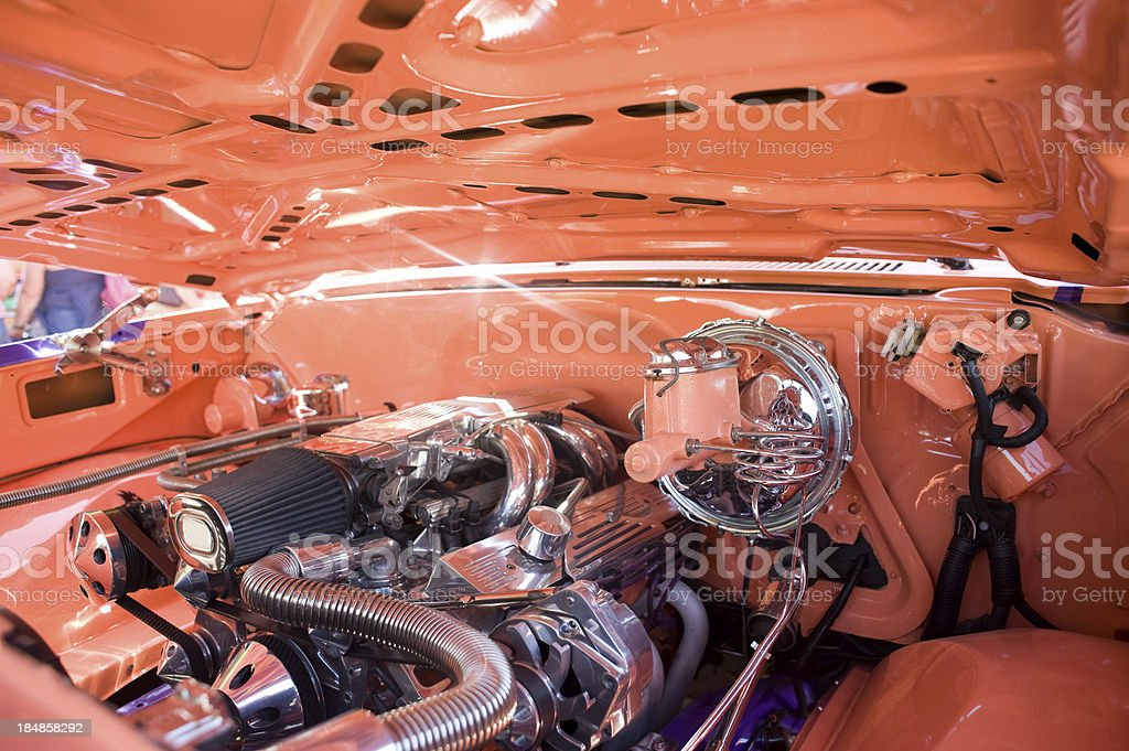 Customized V8 engine stock photo