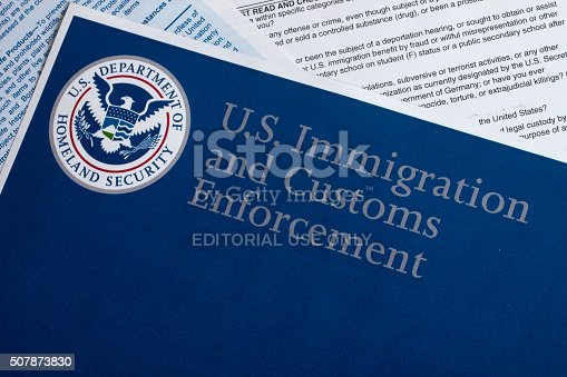 Miami, FL, USA - July 16, 2015: US Customs and Border Protection Declaration document