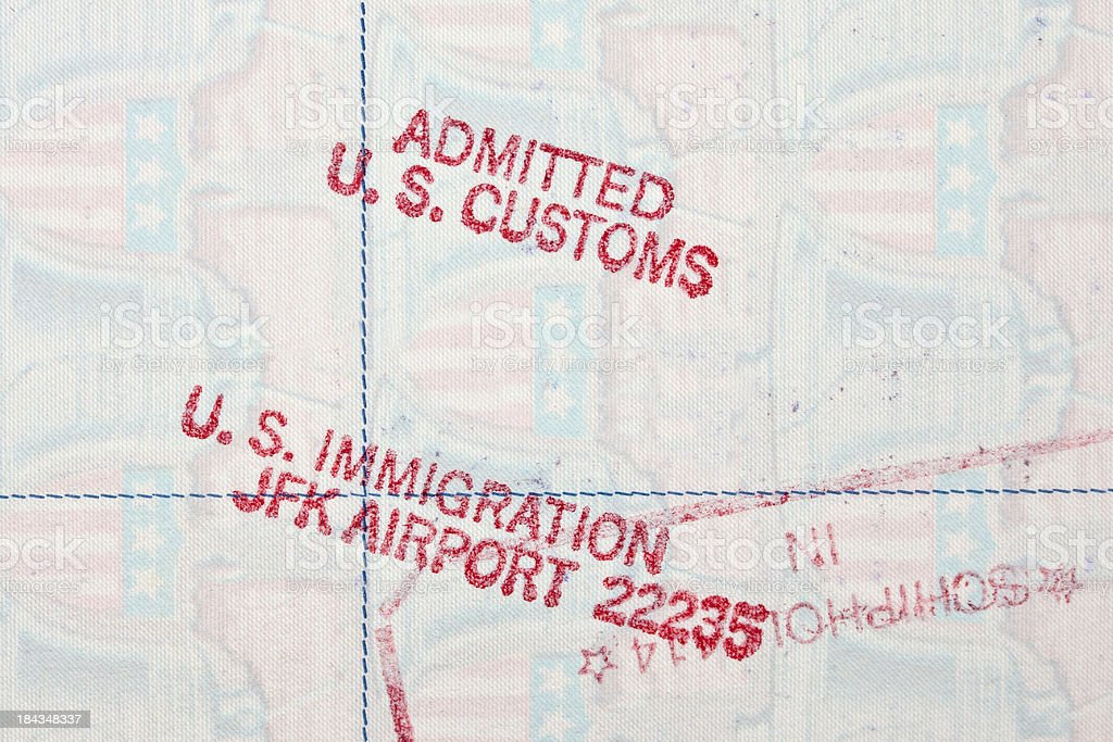 U.S. Customs and Immigration JFK Airport Passport stamp stock photo