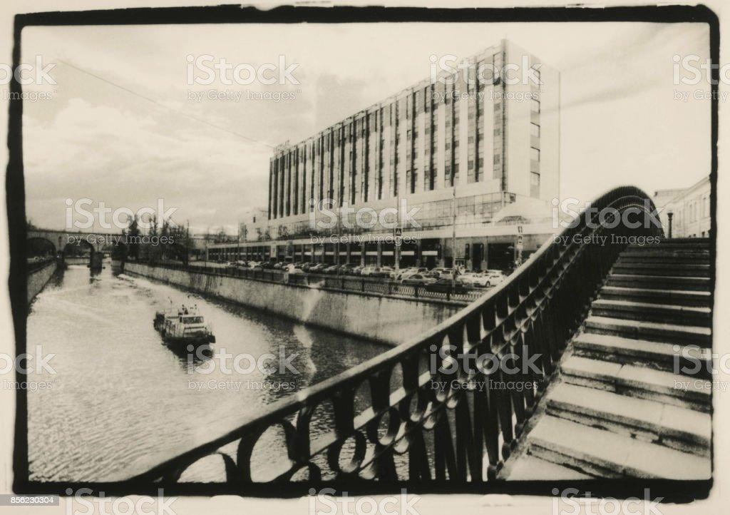 Customs bridge across the Yauza River. stock photo