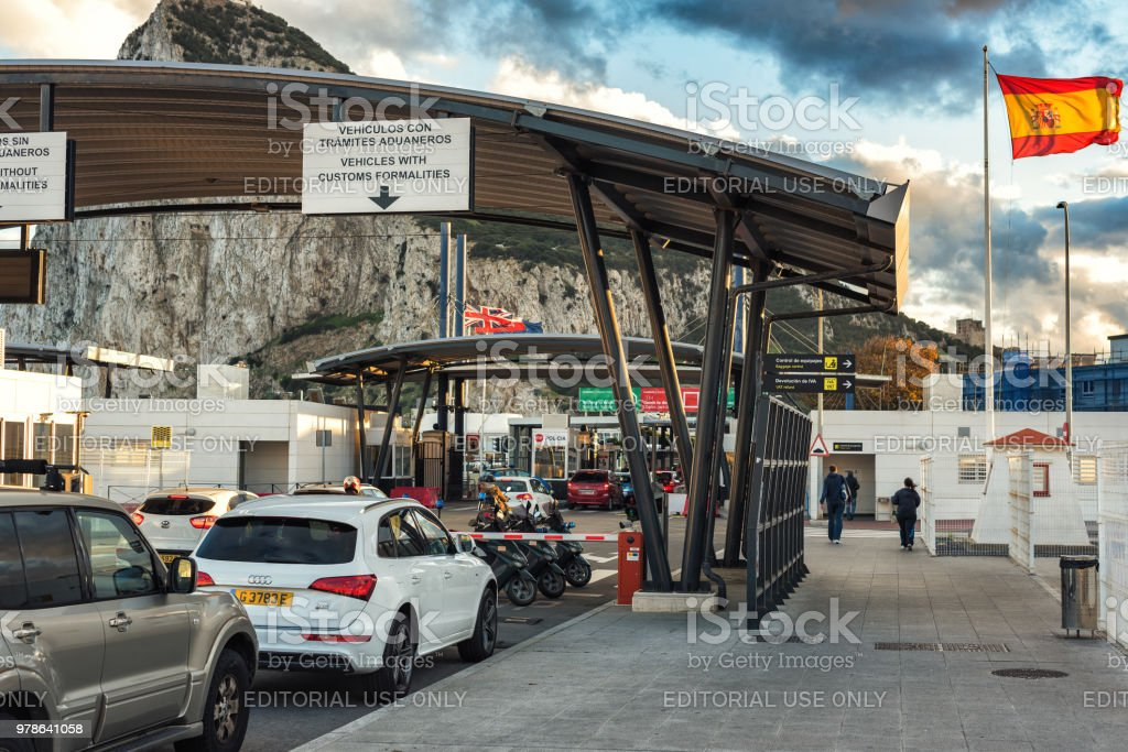 Customs control point at Spanish border in LaLinea town. Rock of Gibraltar at background - British oversee territory stock photo