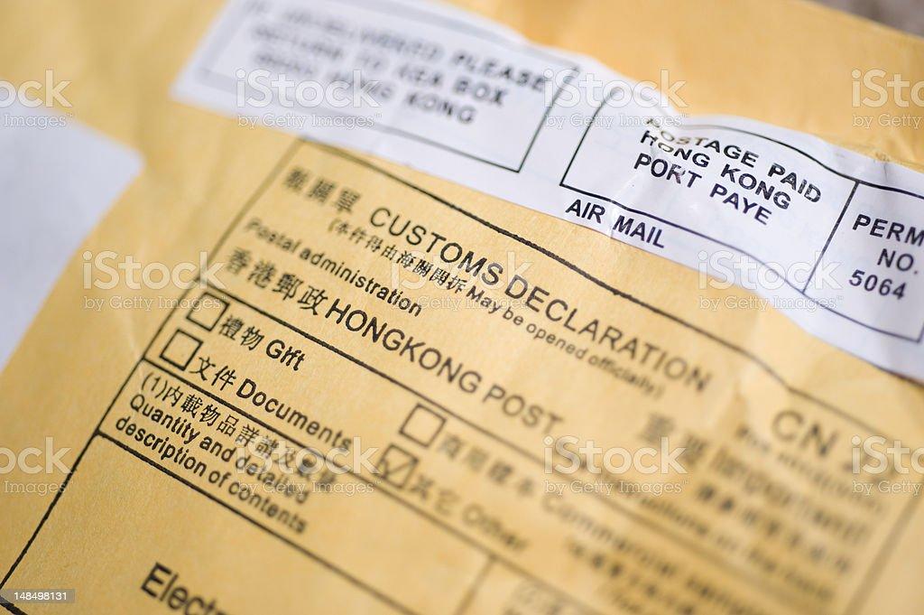 Customs Declaration - Hong Kong Post royalty-free stock photo